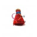 Pompom de Seda com Argola - Vermelho com Azul (20 mm)