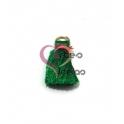 Pompom de Seda com Argola - Verde com Fuchisa (20 mm)