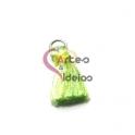 Pompom de Seda com Argola - Verde e Branco com Amarelo Esverdeado (20 mm)