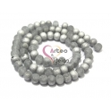 Fiada Contas Cristal Frost - Grey and Silver (8x6mm) - [aprox. 70 unds]