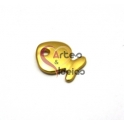 Pendente Zamak Peixinho Liso - Dourado Mate (19x15mm)
