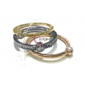 Anel Aço Inox 3 Aneis - Prateado, Dourado e Dourado Rosa