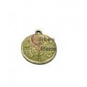 Pendente Zamak Medalhinha Relevo Árvore - Dourado Clarinho Mate (19mm)
