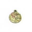 Pendente Zamak Medalhinha Romana - Dourado Clarinho Mate (16mm)