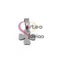 Pendente Aço Inox Mini Trevo Argola Oval - Prateado (12mm)