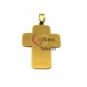 Pendente Aço Inox Cruz Grande Lisa - Dourado (45x32mm)