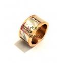 Anel Aço Inox Madrepérola Square - Dourado Rosa