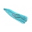 Pompom de Linha Seda Fino e Comprido - Azul Claro (90mm)