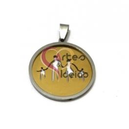 Pendente Aço Inox Familia [Pai, 2 Filhos e Mãe] - Prateado com Dourado (30mm)