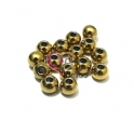 Pack Contas Aço Inox Bolinha de 8 mm - Douradas (3mm) - [15unds]