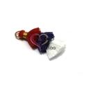 Pompom Pequeno Borla Tripla - Vermelho, Azul e Branco