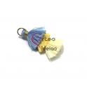 Pompom Pequeno Borla Tripla - Azul Claro e Amarelos