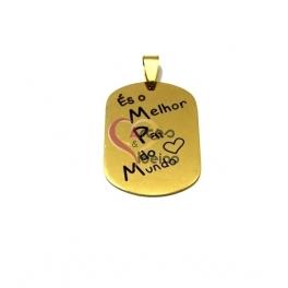 Pendente Aço Inox És o Melhor Pai do Mundo - Dourado (35x25mm)
