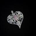 Pendente Zamak Coração Florido - Prateado Mate (65x60)