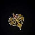 Pendente Zamak Coração Florido - Dourado Mate (65x60)