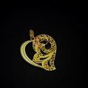 Pendente Zamak Coração Estilizado - Dourado Mate (70x62mm)