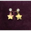 Brincos Aço Brilhante com Estrela - Dourados
