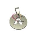 Pendente Aço Inox Medalha Redonda Pequena Letra A - Prateado (20mm)