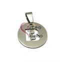 Pendente Aço Inox Medalha Redonda Pequena Letra B - Prateado (20mm)