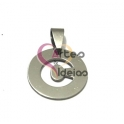 Pendente Aço Inox Medalha Redonda Pequena Letra C - Prateado (20mm)