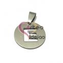 Pendente Aço Inox Medalha Redonda Pequena Letra E - Prateado (20mm)