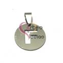 Pendente Aço Inox Medalha Redonda Pequena Letra F - Prateado (20mm)