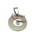 Pendente Aço Inox Medalha Redonda Pequena Letra G - Prateado (20mm)
