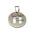 Pendente Aço Inox Medalha Redonda Pequena Letra H - Prateado (20mm)