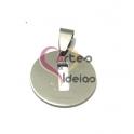 Pendente Aço Inox Medalha Redonda Pequena Letra I - Prateado (20mm)