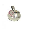 Pendente Aço Inox Medalha Redonda Pequena Letra J - Prateado (20mm)