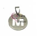Pendente Aço Inox Medalha Redonda Pequena Letra M - Prateado (20mm)