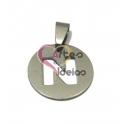 Pendente Aço Inox Medalha Redonda Pequena Letra N - Prateado (20mm)