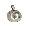 Pendente Aço Inox Medalha Redonda Pequena Letra O - Prateado (20mm)
