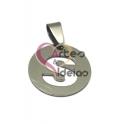 Pendente Aço Inox Medalha Redonda Pequena Letra S - Prateado (20mm)