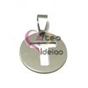 Pendente Aço Inox Medalha Redonda Pequena Letra T - Prateado (20mm)