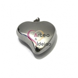 Pendente Aço Inox Coração Liso 3D - Prateado (30mm)