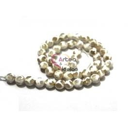 Fiada de Pedras Tibetanas Ágata 3 Olhos - Branco (8 mm) - [48 unds]