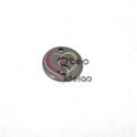 Pendente Aço Inox Mini Medalha Redonda Letra S - Prateado (15mm)