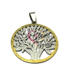 Pendente Aço Inox Árvore da Vida Shinny - Prateado e Dourado (35mm)
