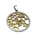 Pendente Aço Inox Redondo Estrelas Shinny - Prateado e Dourado (35mm)