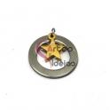 Pendente Aço Inox Aro com Estrela - Prateado e Dourado (20mm)