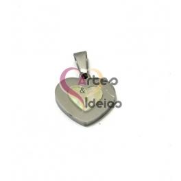 Pendente Aço Inox Coração com Coração Madrepérola - Prateado (17mm)