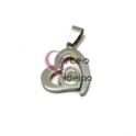Pendente Aço Inox Coração Coração - Prateado (20mm)
