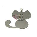 Pendente Aço Inox Gato 2 - Prateado (55x60mm)