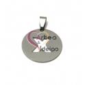 Pendente Aço Inox Medalha Redonda Letra X - Prateado (25mm)