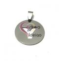 Pendente Aço Inox Medalha Redonda Letra Y - Prateado (25mm)