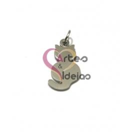 Pendente Aço Inox Gatinho Silhueta - Prateado (20x10mm)