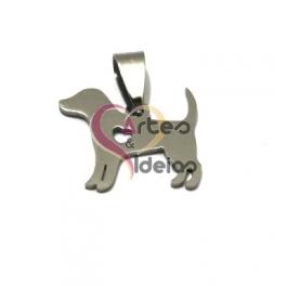 Pendente Aço Inox Cãozinho Coração - Prateado (18x20mm)