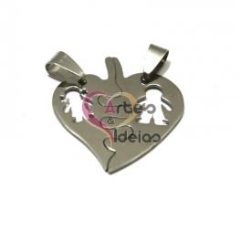 Pendente Aço Inox 2 em 1 Coração Meninos - Prateado (30mm)