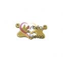 Pendente Aço Inox Coração com Mãos - Dourado (10x24mm)